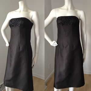 Ann Taylor Embroidered Strapless Silk Dress 4 NWT